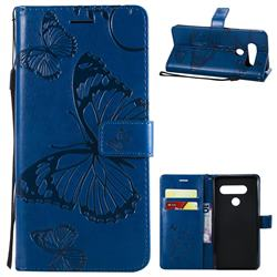 Embossing 3D Butterfly Leather Wallet Case for LG V40 ThinQ - Blue