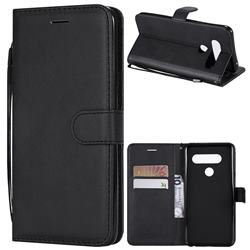 Retro Greek Classic Smooth PU Leather Wallet Phone Case for LG V40 ThinQ - Black