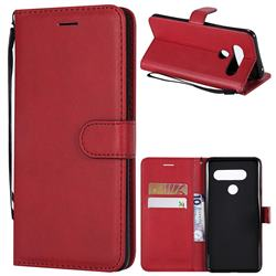 Retro Greek Classic Smooth PU Leather Wallet Phone Case for LG V40 ThinQ - Red
