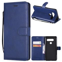 Retro Greek Classic Smooth PU Leather Wallet Phone Case for LG V40 ThinQ - Blue