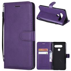 Retro Greek Classic Smooth PU Leather Wallet Phone Case for LG V40 ThinQ - Purple