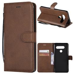 Retro Greek Classic Smooth PU Leather Wallet Phone Case for LG V40 ThinQ - Brown