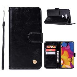 Luxury Retro Leather Wallet Case for LG V40 ThinQ - Black