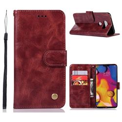 Luxury Retro Leather Wallet Case for LG V40 ThinQ - Wine Red