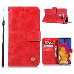 Luxury Retro Leather Wallet Case for LG V40 ThinQ - Red