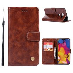 Luxury Retro Leather Wallet Case for LG V40 ThinQ - Brown