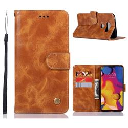 Luxury Retro Leather Wallet Case for LG V40 ThinQ - Golden
