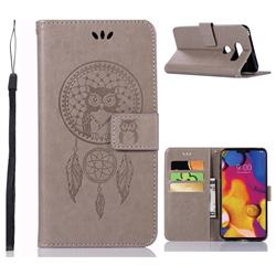 Intricate Embossing Owl Campanula Leather Wallet Case for LG V40 ThinQ - Grey