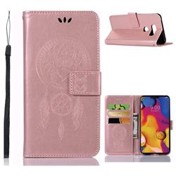 Intricate Embossing Owl Campanula Leather Wallet Case for LG V40 ThinQ - Rose Gold