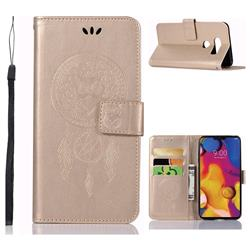 Intricate Embossing Owl Campanula Leather Wallet Case for LG V40 ThinQ - Champagne