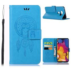 Intricate Embossing Owl Campanula Leather Wallet Case for LG V40 ThinQ - Blue
