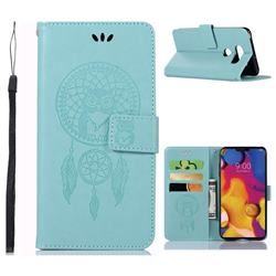 Intricate Embossing Owl Campanula Leather Wallet Case for LG V40 ThinQ - Green