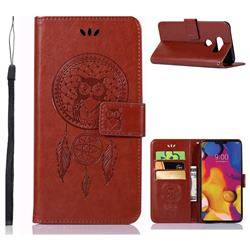 Intricate Embossing Owl Campanula Leather Wallet Case for LG V40 ThinQ - Brown