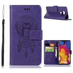 Intricate Embossing Owl Campanula Leather Wallet Case for LG V40 ThinQ - Purple