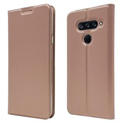 Ultra Slim Card Magnetic Automatic Suction Leather Wallet Case for LG V40 ThinQ - Rose Gold