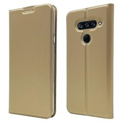 Ultra Slim Card Magnetic Automatic Suction Leather Wallet Case for LG V40 ThinQ - Champagne