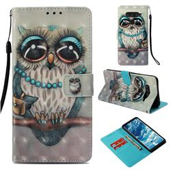 Sweet Gray Owl 3D Painted Leather Wallet Case for LG V40 ThinQ