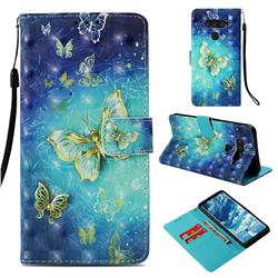 Gold Butterfly 3D Painted Leather Wallet Case for LG V40 ThinQ