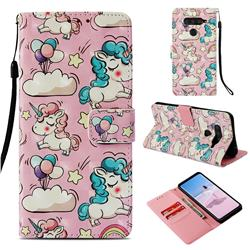 Angel Pony 3D Painted Leather Wallet Case for LG V40 ThinQ