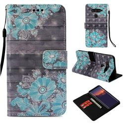 Blue Flower 3D Painted Leather Wallet Case for LG V40 ThinQ