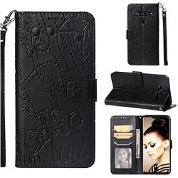 Embossing Fireworks Elephant Leather Wallet Case for LG V40 ThinQ - Black
