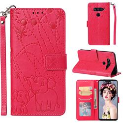 Embossing Fireworks Elephant Leather Wallet Case for LG V40 ThinQ - Red