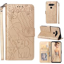 Embossing Fireworks Elephant Leather Wallet Case for LG V40 ThinQ - Golden