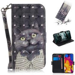 Cat Embrace 3D Painted Leather Wallet Phone Case for LG V40 ThinQ