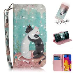 Black and White Cat 3D Painted Leather Wallet Phone Case for LG V40 ThinQ