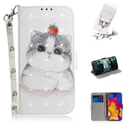 Cute Tomato Cat 3D Painted Leather Wallet Phone Case for LG V40 ThinQ
