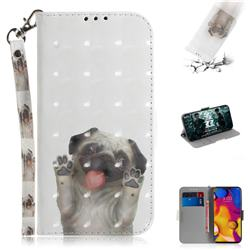 Pug Dog 3D Painted Leather Wallet Phone Case for LG V40 ThinQ