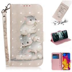 Three Squirrels 3D Painted Leather Wallet Phone Case for LG V40 ThinQ
