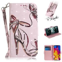 Butterfly High Heels 3D Painted Leather Wallet Phone Case for LG V40 ThinQ