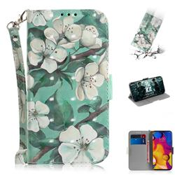 Watercolor Flower 3D Painted Leather Wallet Phone Case for LG V40 ThinQ