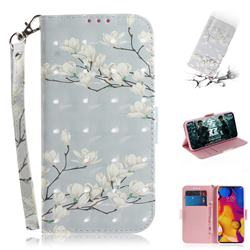 Magnolia Flower 3D Painted Leather Wallet Phone Case for LG V40 ThinQ