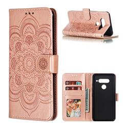 Intricate Embossing Datura Solar Leather Wallet Case for LG V40 ThinQ - Rose Gold