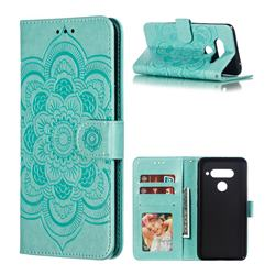 Intricate Embossing Datura Solar Leather Wallet Case for LG V40 ThinQ - Green