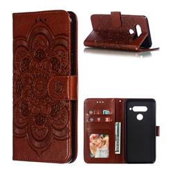Intricate Embossing Datura Solar Leather Wallet Case for LG V40 ThinQ - Brown