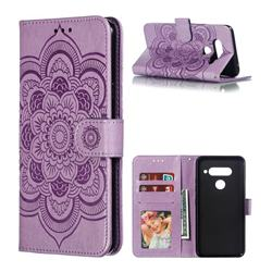 Intricate Embossing Datura Solar Leather Wallet Case for LG V40 ThinQ - Purple