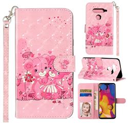 Pink Bear 3D Leather Phone Holster Wallet Case for LG V40 ThinQ