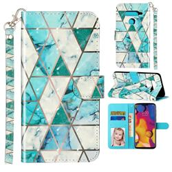 Stitching Marble 3D Leather Phone Holster Wallet Case for LG V40 ThinQ