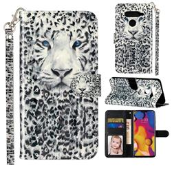White Leopard 3D Leather Phone Holster Wallet Case for LG V40 ThinQ