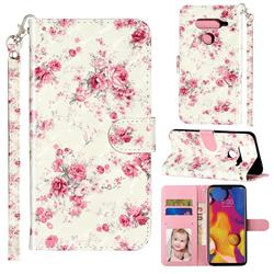 Rambler Rose Flower 3D Leather Phone Holster Wallet Case for LG V40 ThinQ