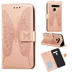 Intricate Embossing Vivid Butterfly Leather Wallet Case for LG V40 ThinQ - Rose Gold