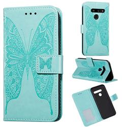 Intricate Embossing Vivid Butterfly Leather Wallet Case for LG V40 ThinQ - Green