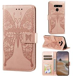 Intricate Embossing Rose Flower Butterfly Leather Wallet Case for LG V40 ThinQ - Rose Gold