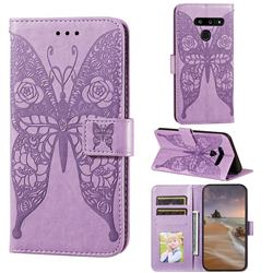 Intricate Embossing Rose Flower Butterfly Leather Wallet Case for LG V40 ThinQ - Purple