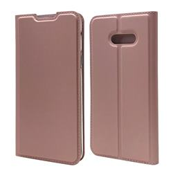 Ultra Slim Card Magnetic Automatic Suction Leather Wallet Case for LG V50s ThinQ 5G - Rose Gold