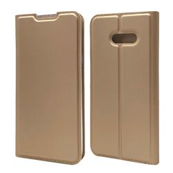 Ultra Slim Card Magnetic Automatic Suction Leather Wallet Case for LG V50s ThinQ 5G - Champagne