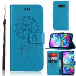Intricate Embossing Owl Campanula Leather Wallet Case for LG V50s ThinQ 5G - Blue